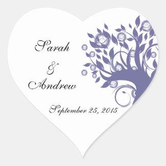Tree of Life Wedding Purple 669 Heart Sticker
