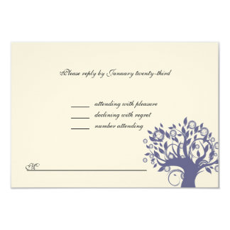 Tree of Life Wedding RSVP Purple 669 Card