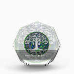 """Tree of Life with Butterfly in Circle Acrylic Award<br><div class=""""desc"""">Green and white design with a tree of life and a butterfly in a circle.</div>"""