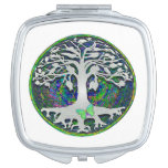 Tree of Life with Butterfly in Circle Compact Mirrors