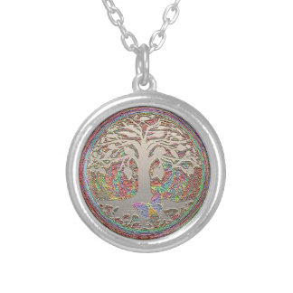 Tree of Life with Butterfly Round Pendant Necklace