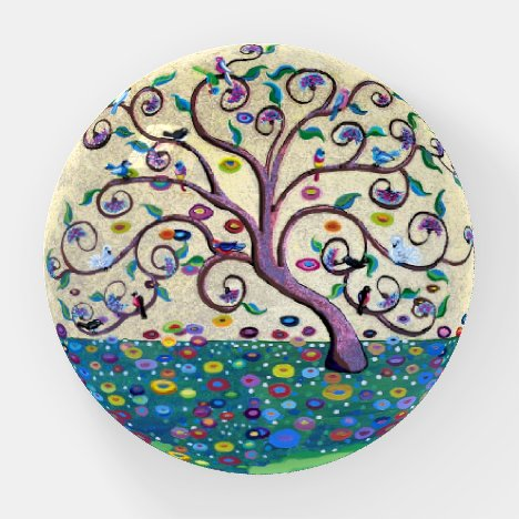 Tree of life with flowers and birds paperweight