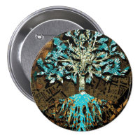Tree of Life with Green and Blue Colors Button