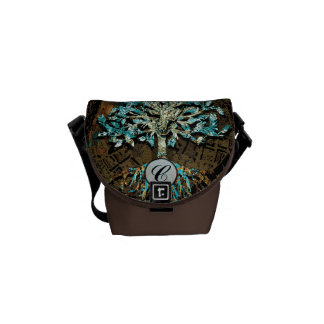 Tree of Life with Green and Blue Colors Courier Bag