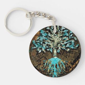 Tree of Life with Green and Blue Colors Keychain