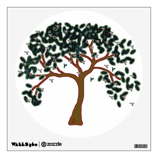 Tree of life with pink flowers wall sticker