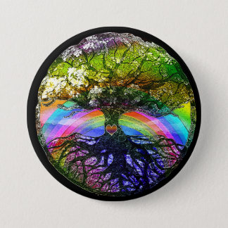 Tree of Life with Rainbow Heart Button