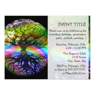 Tree of Life with Rainbow Heart Personalized Announcements
