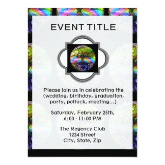 """Tree of Life with Rainbow Heart 5.5"""" X 7.5"""" Invitation Card"""