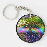 Tree of Life with Rainbow Heart Single-Sided Round Acrylic Keychain