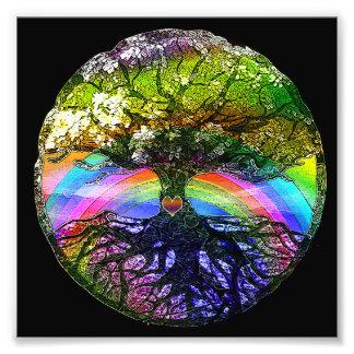 Tree of Life with Rainbow Heart Art Photo
