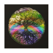 Tree of Life with Rainbow Heart Wood Print (<em>$77.00</em>)