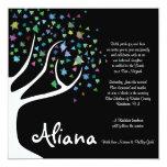 "TREE of LIFE with STARS Bat Mitzvah Invitation 5.25"" Square Invitation Card"