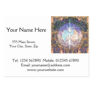 Tree of life with ying yang and heart symbol large business cards (Pack of 100)