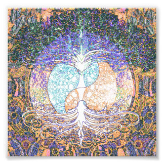 Tree of life with ying yang and heart symbol photo print