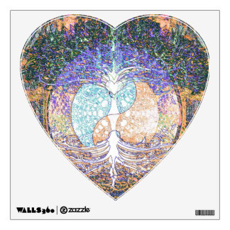 Tree of life with ying yang and heart symbol wall sticker