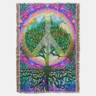 Tree of Life World Peace Rainbow Throw