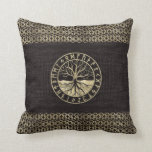 Tree of life  -Yggdrasil and  Runes on wood Throw Pillow