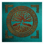 Tree of life  -Yggdrasil  - Embossed Faux Leather Poster