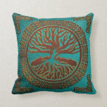 Tree of life  -Yggdrasil  - Embossed Faux Leather Throw Pillow