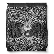 Tree of Life Yin Yang in Black and White Drawstring Bag