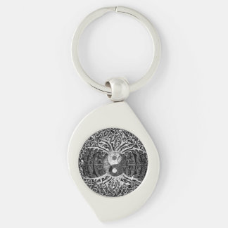 Tree of Life Yin Yang in Black and White Keychain