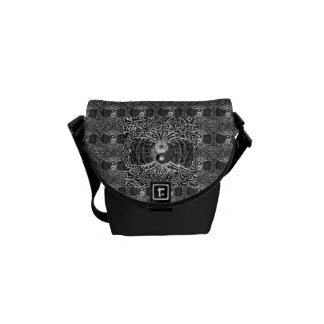 Tree of Life Yin Yang in Black and White Messenger Bag