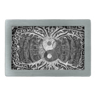 Tree of Life Yin Yang in Black and White Rectangular Belt Buckle