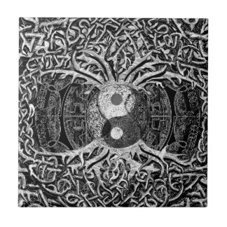 Tree of Life Yin Yang in Black and White Tiles