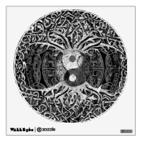 Tree of Life Yin Yang in Black and White Wall Decal