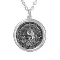 Tree of Life Yin Yang Silver Plated Necklace