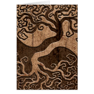 Tree of Life Yin Yang with Wood Grain Effect Greeting Cards