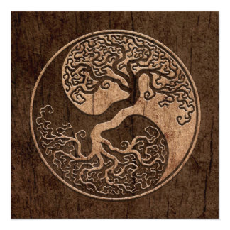 Tree of Life Yin Yang with Wood Grain Effect Card