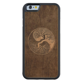 Tree of Life Yin Yang with Wood Grain Effect Carved Maple iPhone 6 Bumper Case
