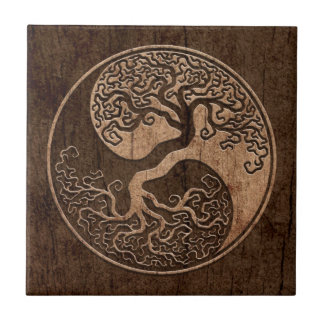 Tree of Life Yin Yang with Wood Grain Effect Ceramic Tile