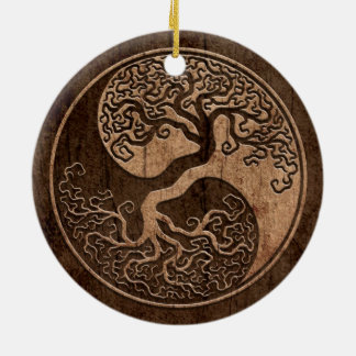 Tree of Life Yin Yang with Wood Grain Effect Double-Sided Ceramic Round Christmas Ornament