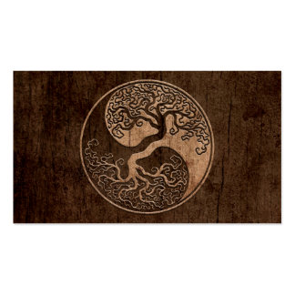 Tree of Life Yin Yang with Wood Grain Effect Double-Sided Standard Business Cards (Pack Of 100)