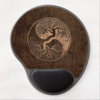 Tree of Life Yin Yang with Wood Grain Effect Gel Mouse Mats