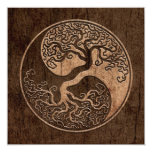 Tree of Life Yin Yang with Wood Grain Effect 5.25x5.25 Square Paper Invitation Card