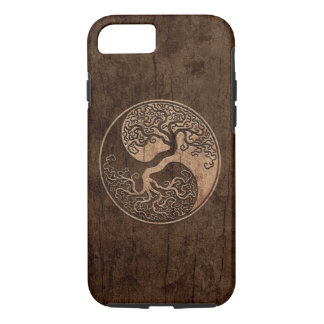 Tree of Life Yin Yang with Wood Grain Effect iPhone 7 Case