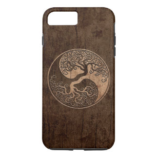 Tree of Life Yin Yang with Wood Grain Effect iPhone 7 Plus Case