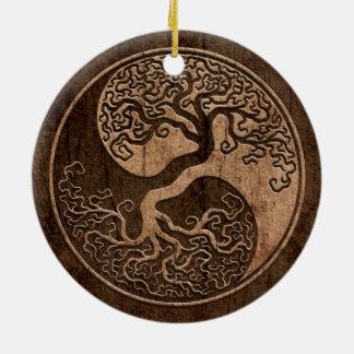 Tree of Life Yin Yang with Wood Grain Effect Christmas Ornaments