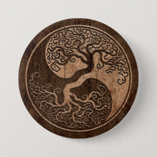Tree of Life Yin Yang with Wood Grain Effect Pinback Button
