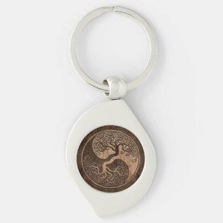 Tree of Life Yin Yang with Wood Grain Effect Silver-Colored Swirl Metal Keychain
