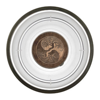Tree of Life Yin Yang with Wood Grain Effect Pet Bowl