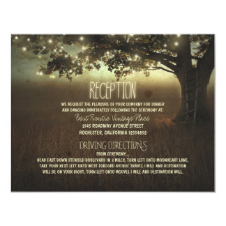 tree of lights rustic wedding reception card