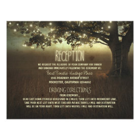 tree of lights rustic wedding reception personalized announcement