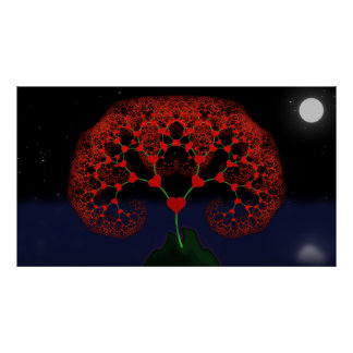 Tree of Love - Heart Fractal (Moonlight) Poster