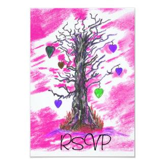 """Tree of Love PinkRSVP 3.5"""" X 5"""" Invitation Card"""