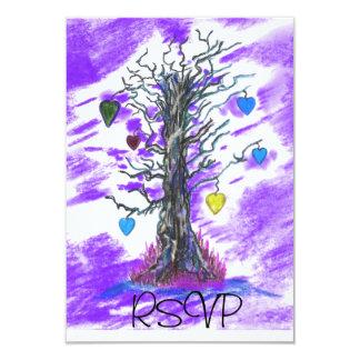 "Tree of Love Purple RSVP 3.5"" X 5"" Invitation Card"